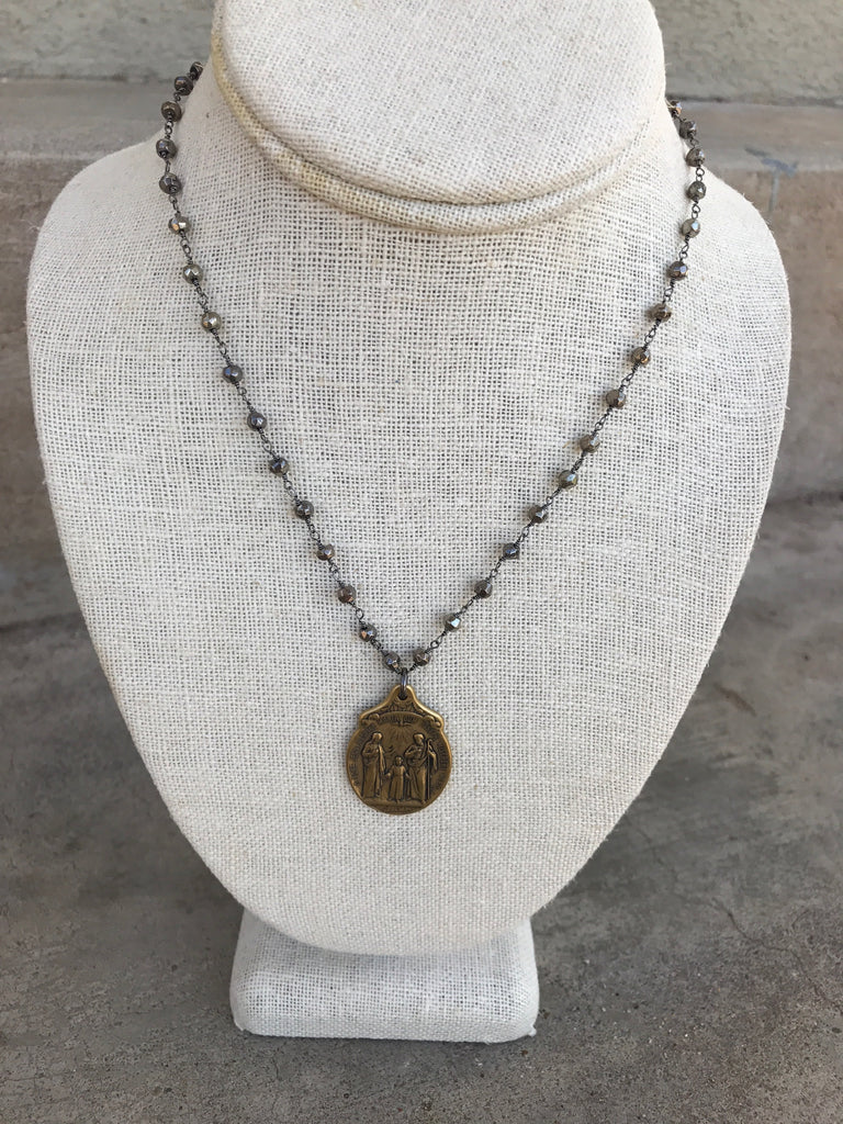 Pyrite Necklace with Hand Cast Saint Pendant
