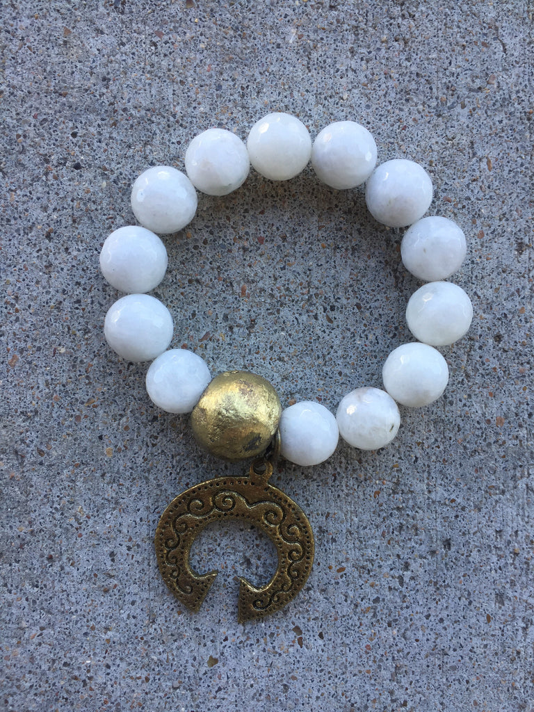 White Moonstone Stretch Bracelet with Half Moon Brass Pendant