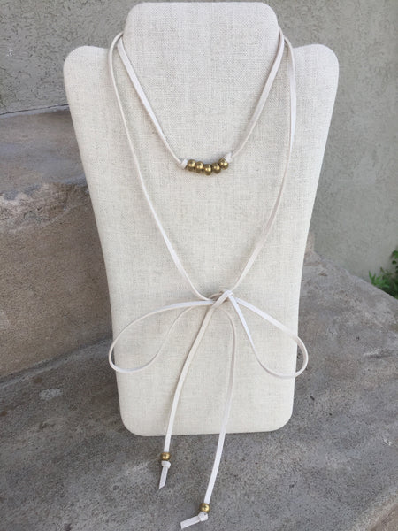 Cream Suede Leather Wrap with Brass Ethiopian Beads