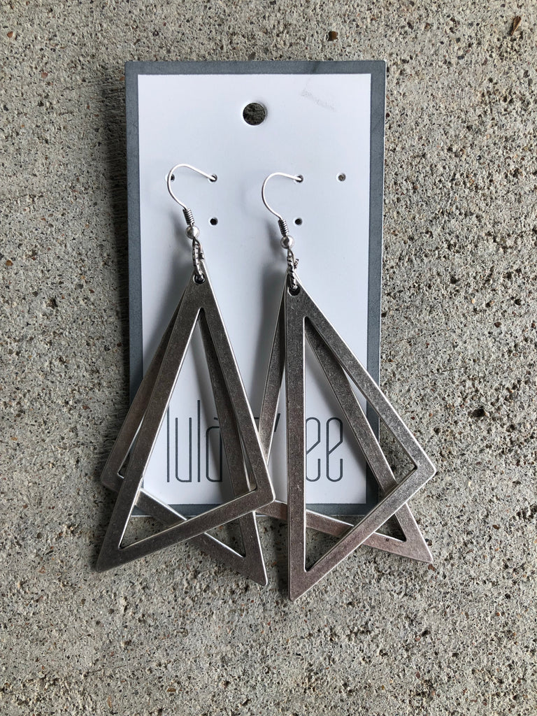 Silver Double Triangle Dangle Earrings