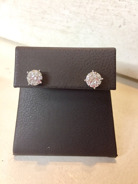 Diamond Stud Earrings with Halo