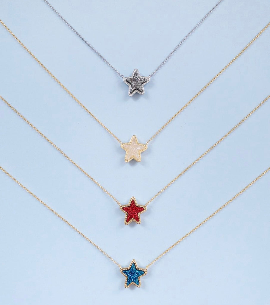Jae Star Gold Pendant Necklace in Red Drusy