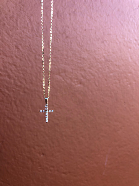 Dainty Yellow Gold Diamond Cross Pendant
