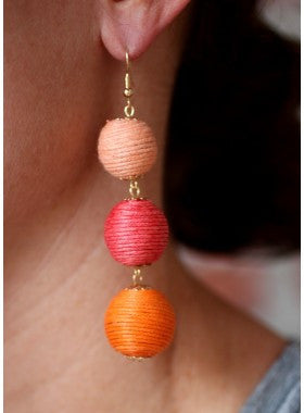 Billie Thread Wrapped Ball Dangle Earrings