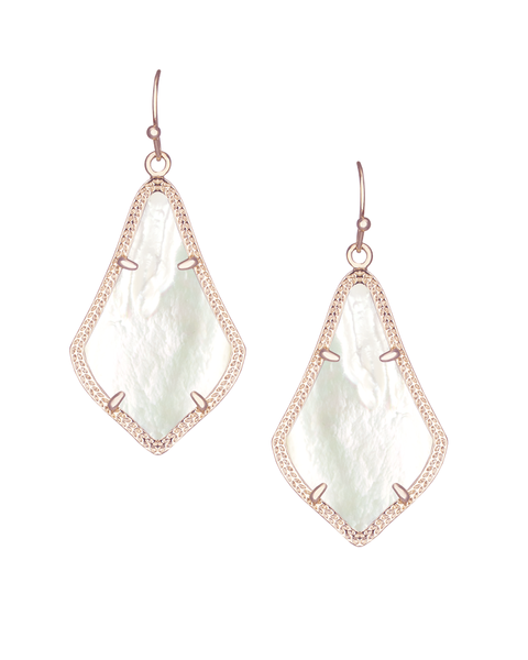 Alex Rose Gold Earrings in Ivory Mother of Pearl