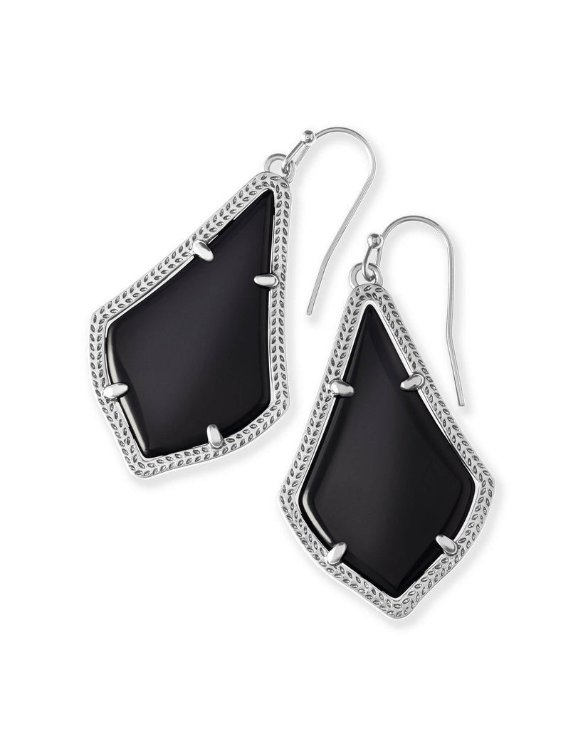 Alex Silver Drop Earrings in Black Opaque Glass