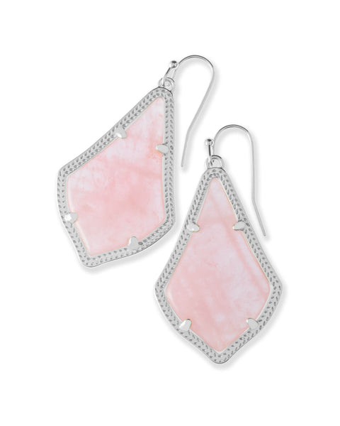 Alex Silver Drop Earrings in Rose Quartz