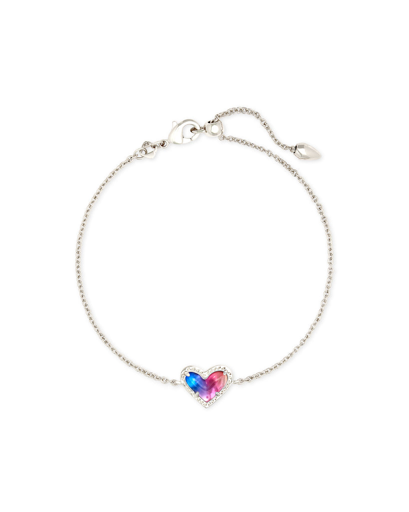 Ari Heart Silver Chain Bracelet in Watercolor Illusion