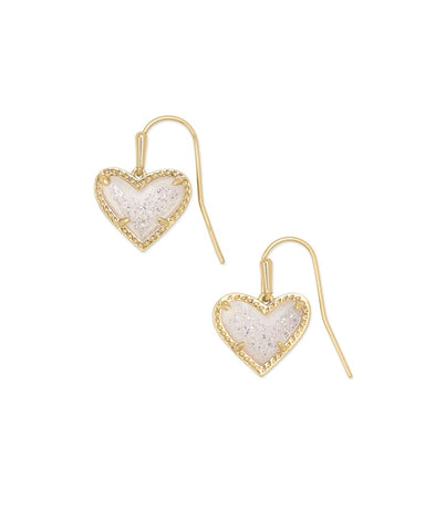 Ari Heart Gold Drop Earrings in Iridescent Drusy