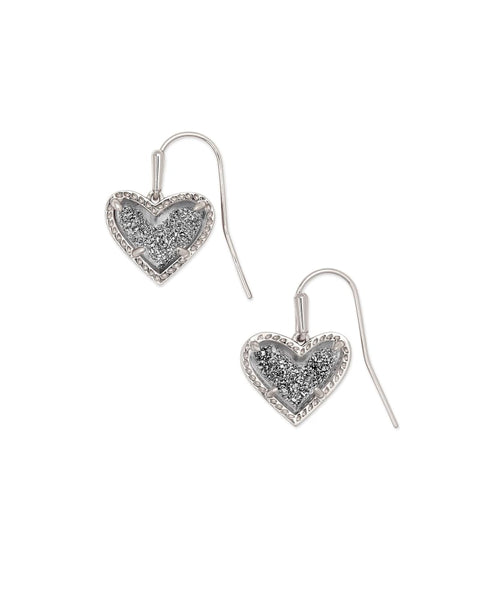 Ari Heart Silver Drop Earrings in Platinum Drusy