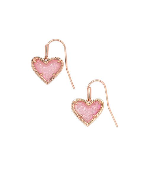 Ari Heart Rose Gold Drop Earrings in Pink Drusy