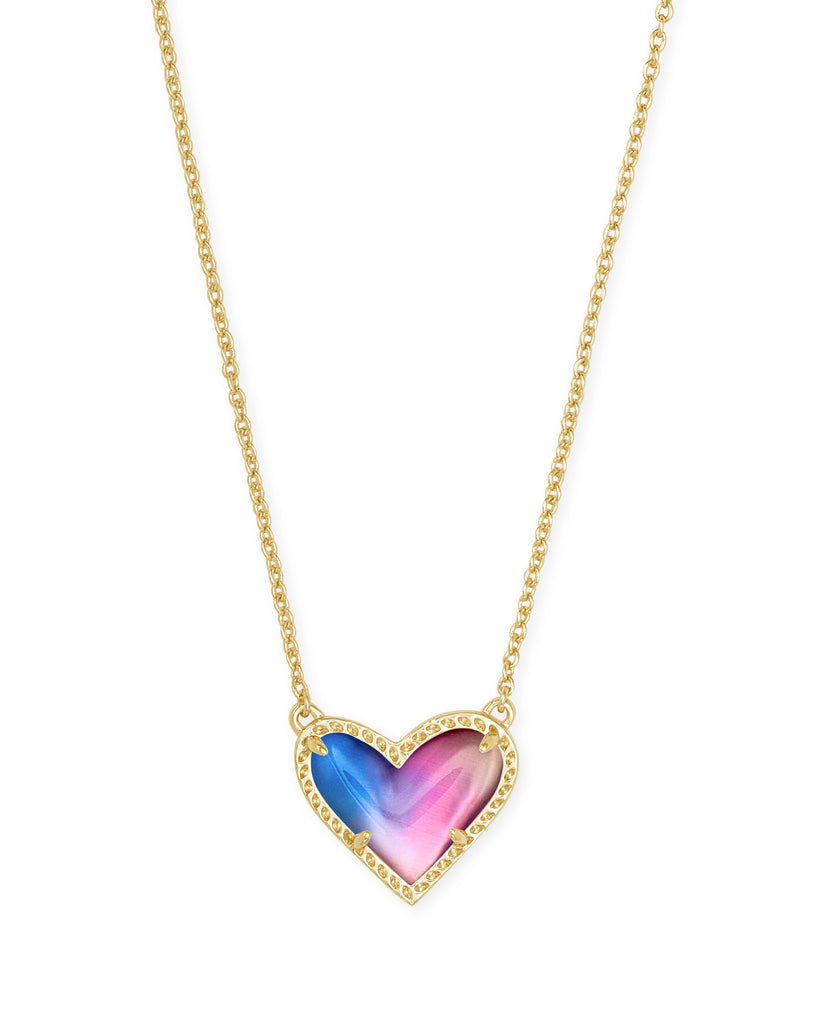 Ari Heart Gold Necklace in Watercolor Illusion
