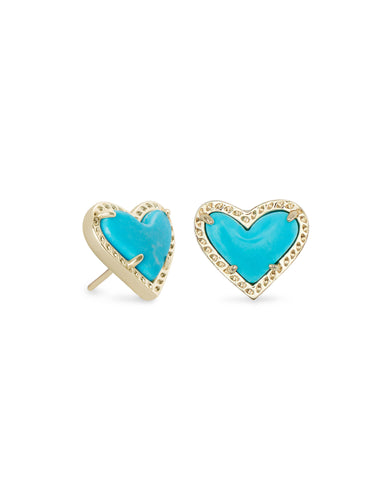 Ari Heart Gold Stud Earrings in Turquoise