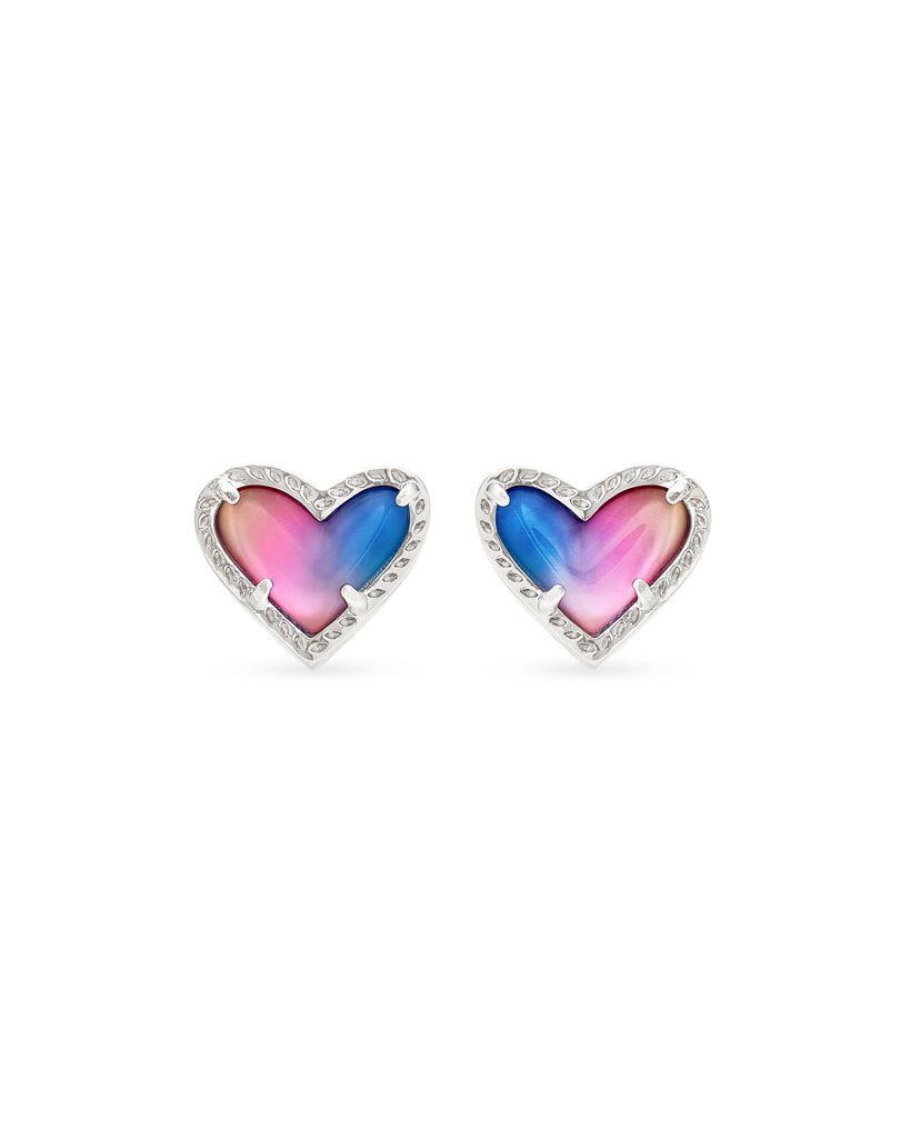 Ari Heart Silver Stud Earrings in Watercolor Illusion