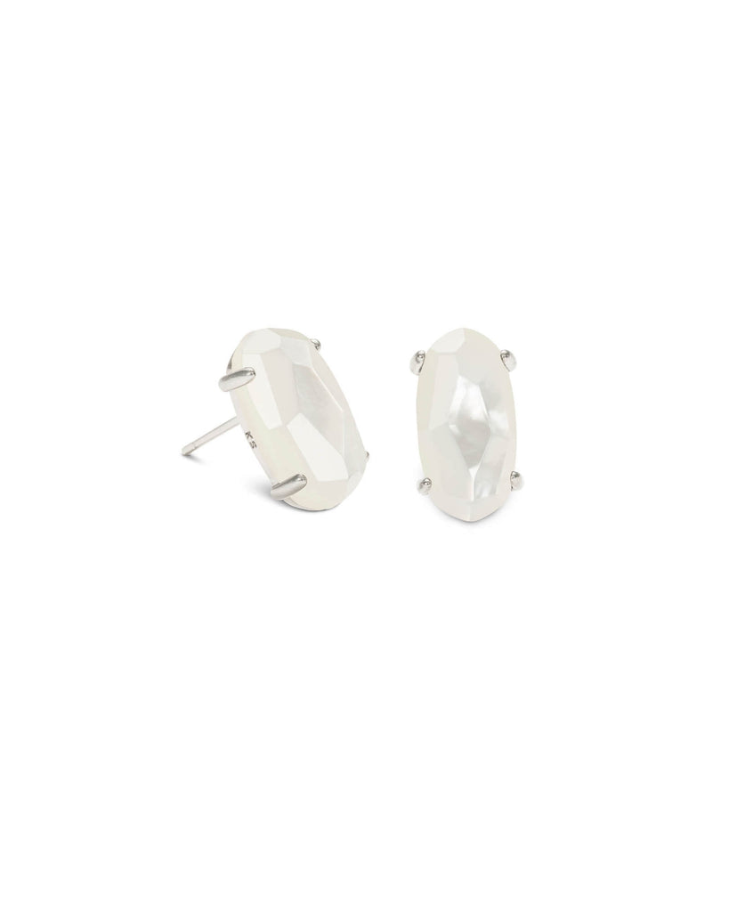 Betty Silver Stud Earrings in White Mother of Pearl