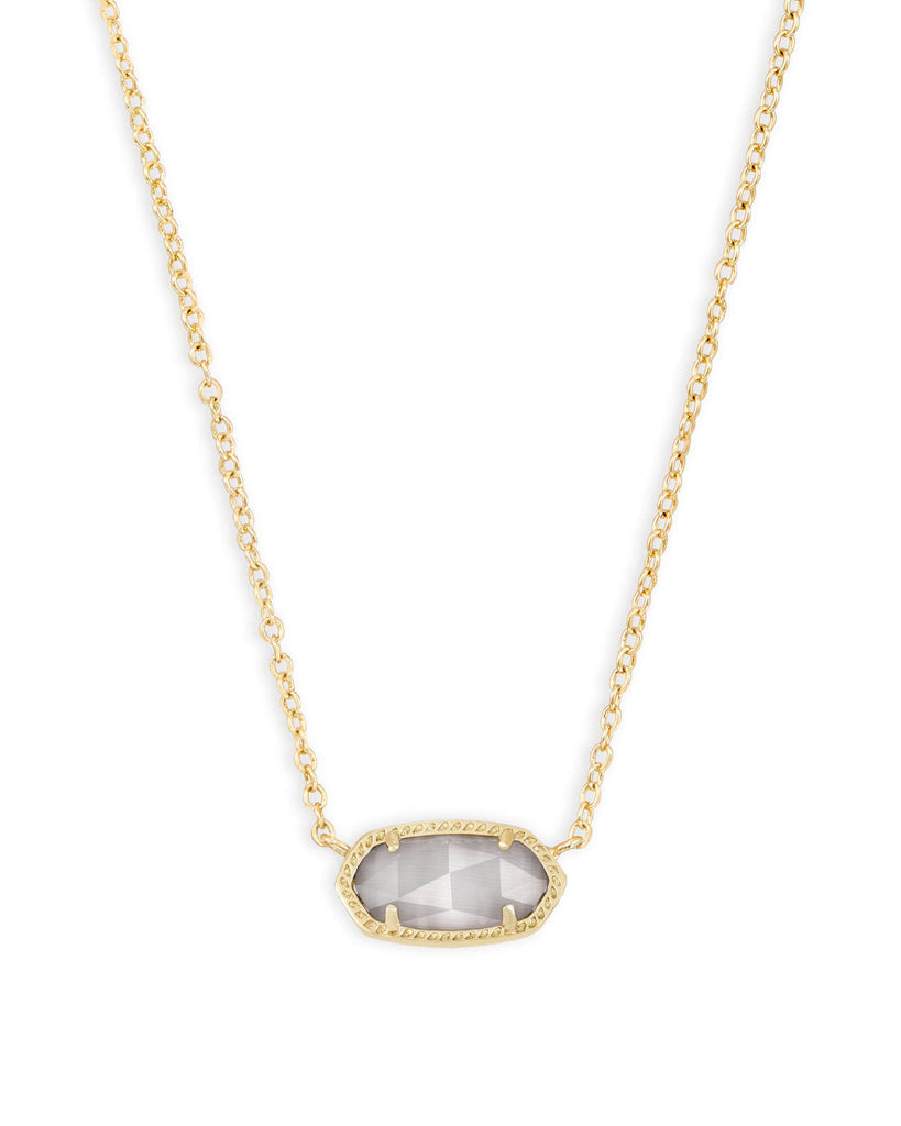 Elisa Gold Pendant Necklace in Slate Cat's Eye