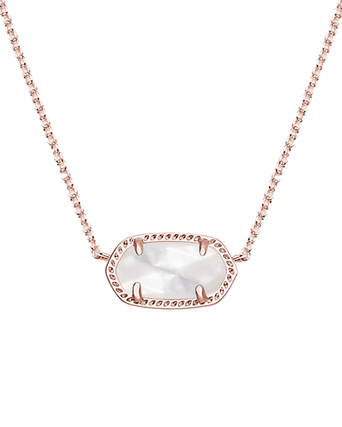 Elisa Rose Gold Necklace in Ivory Mother of Pearl