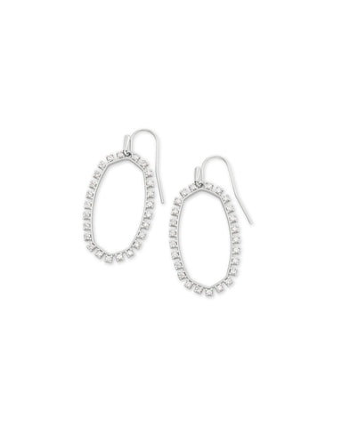 Elle Open Frame Earrings with White CZ