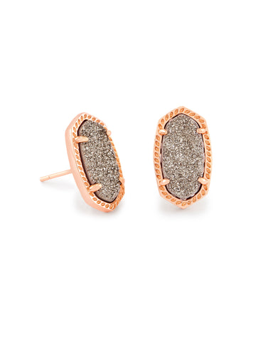 Ellie Earrings in Platinum Drusy // Rose Gold