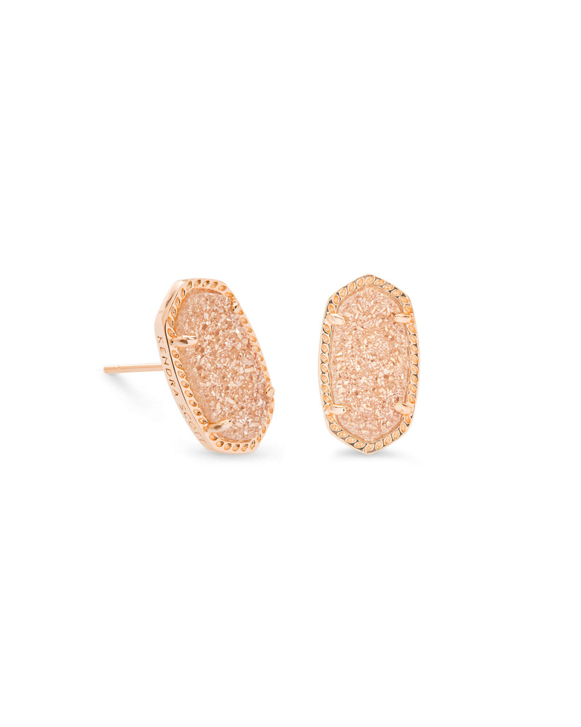 Ellie Rose Gold Stud Earrings in Sand Drusy