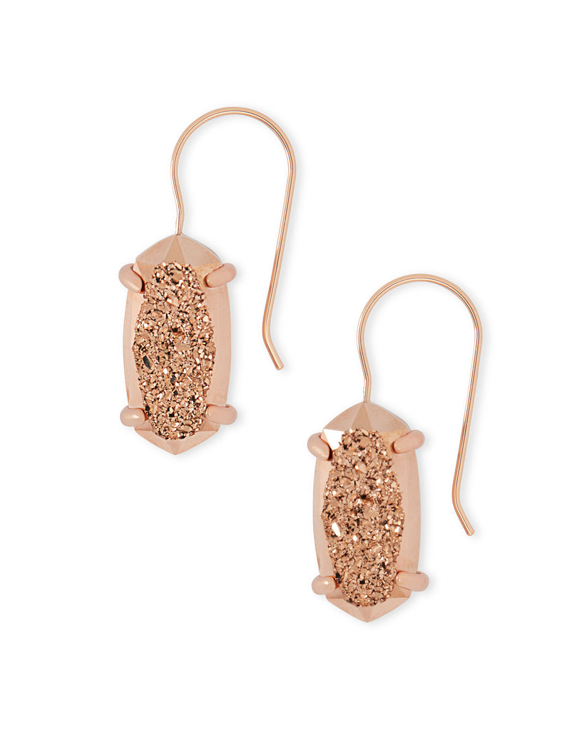 Harrison Rose Gold Drop Earrings in Rose Gold Drusy