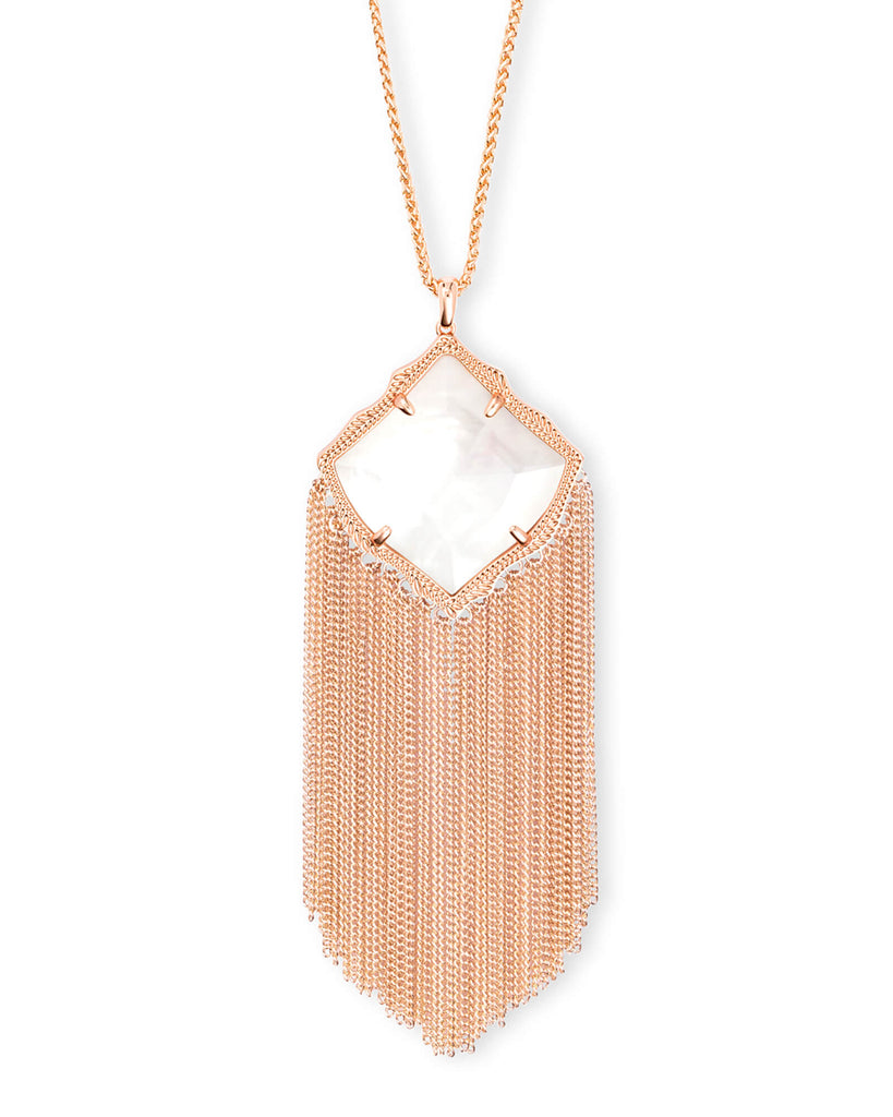 Kingston Rose Gold Long Pendant Necklace in Ivory Mother of Pearl