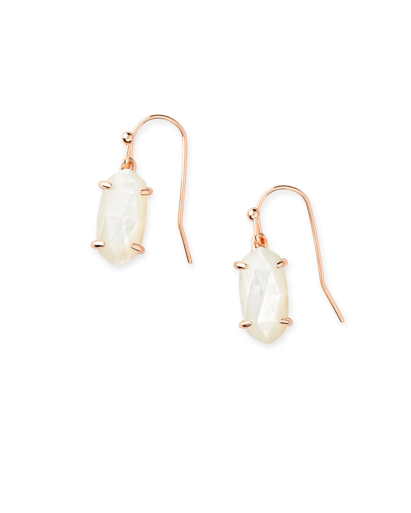 Lemmi Rose Gold Earrings in Ivory Mother of Pearl