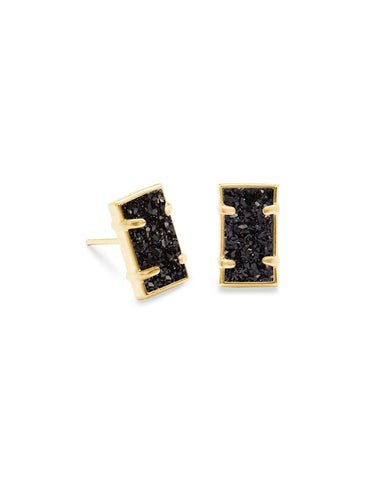 Paola Gold Stud Earrings In Black Drusy