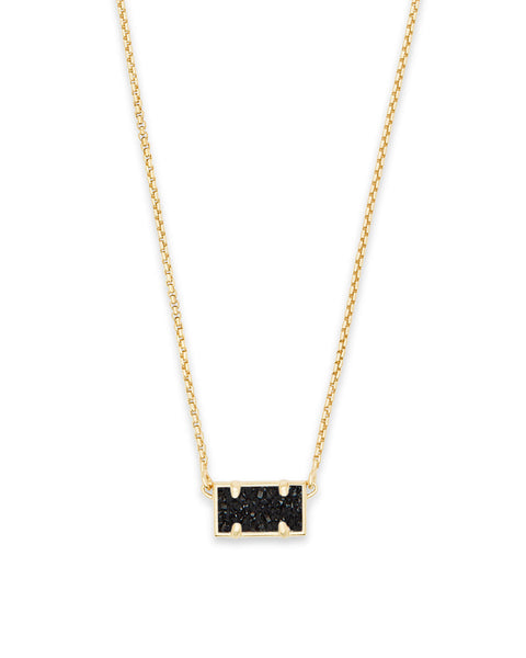Pattie Gold Pendant Necklace In Black Drusy