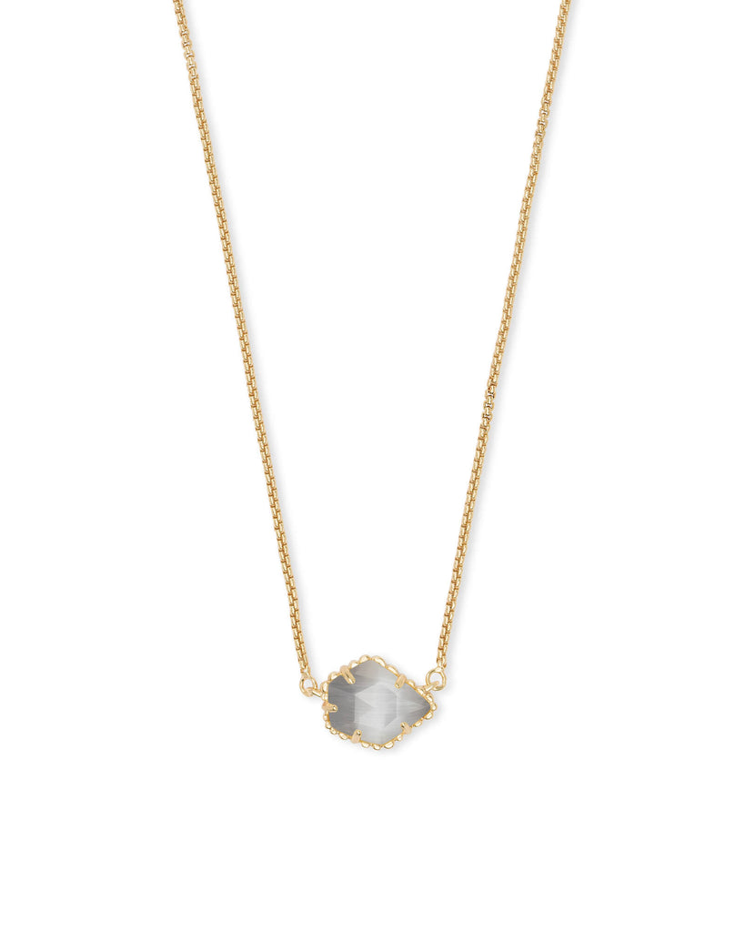Tess Gold Necklace in Slate Cat's Eye