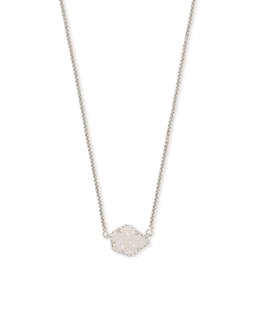 Tess Silver Pendant Necklace in Iridescent Drusy