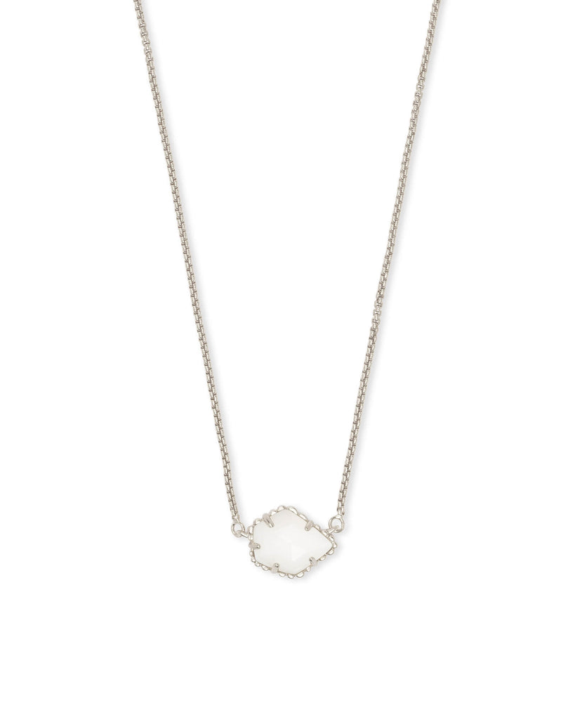 Tess Silver Necklace in White Mother of Pearl