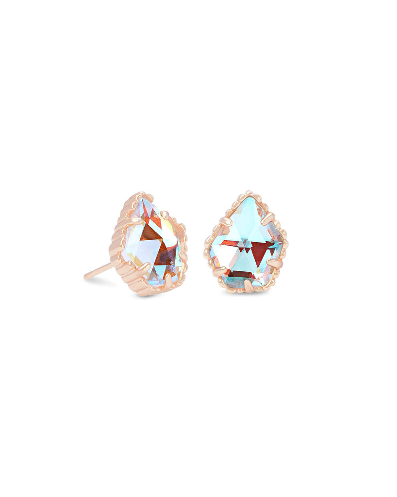 Tessa Rose Gold Stud Earrings In Dichroic Glass
