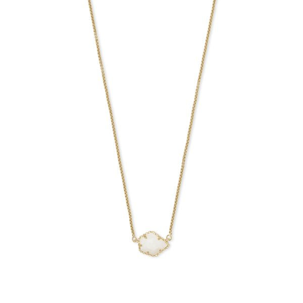 Tess Rose Gold Necklace in Ivory Mother of Pearl
