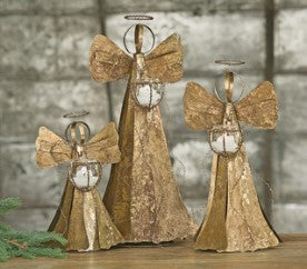Medium Gold Angel with Glass Candleholder