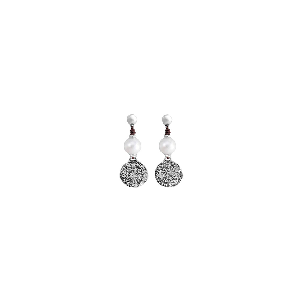 Alexandria Silver, Leather & Pearl Earrings