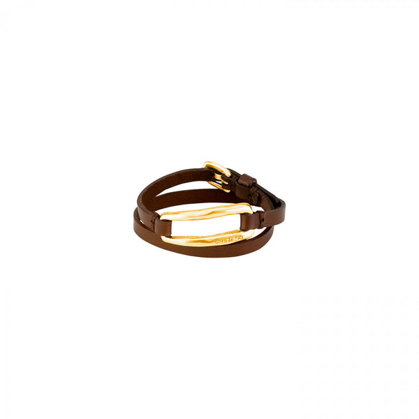 Double Trapped Gold & Brown Leather Wrap Bracelet