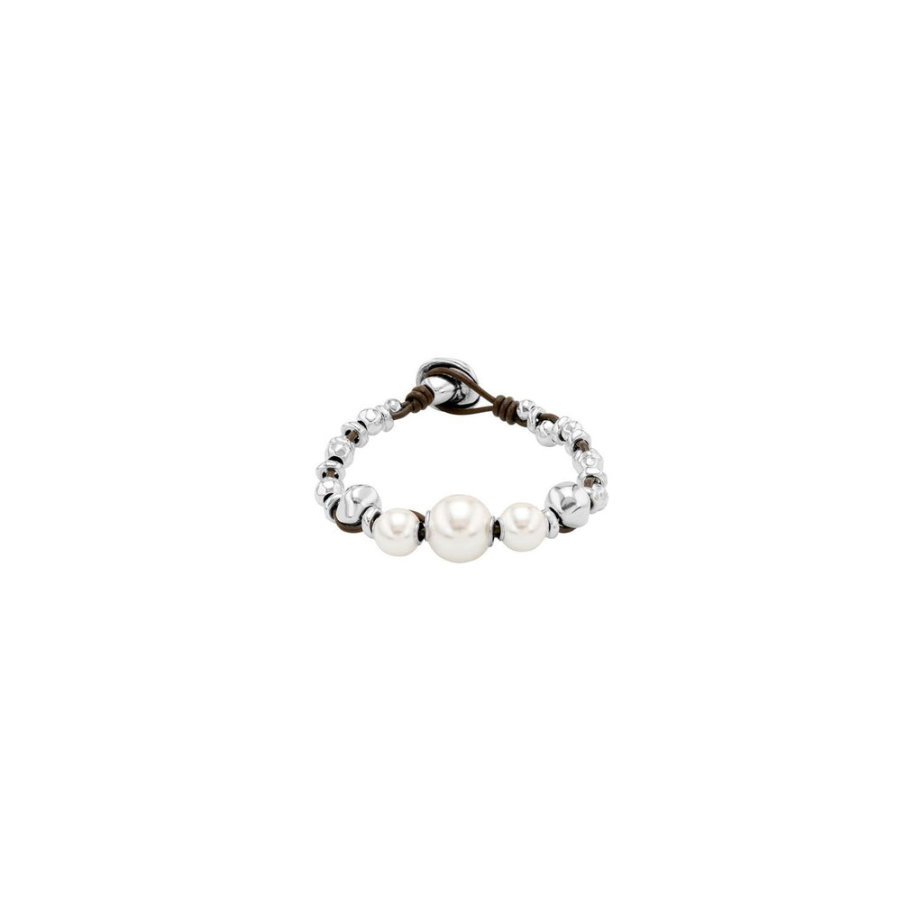 Flighty Pearl, Silver & Leather Bracelet