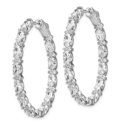 Sterling Silver Rhodium-Plated Fancy CZ In And Out Oval Hoop Earrings