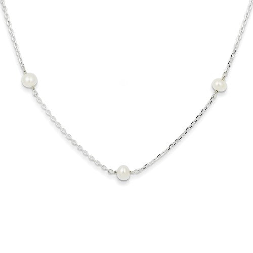 Freshwater Pearl Station Necklace | Sterling Silver with Rhodium Plating