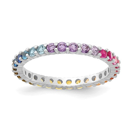 Colorful CZ Eternity Band | Sterling Silver with Rhodium Plating