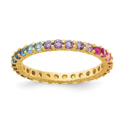 Colorful CZ Eternity Band | Sterling Silver with Gold Plating