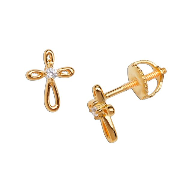 Gold Plated Open Cross Earrings with CZ