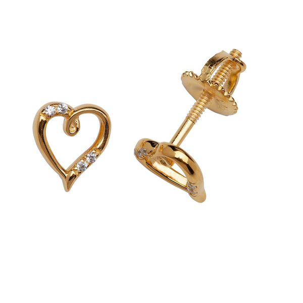 Gold Plated Open Heart Earrings with CZ