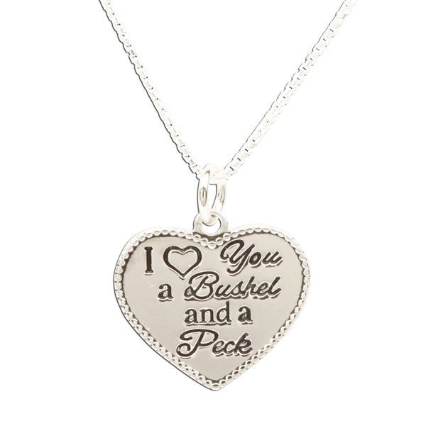 Sterling Silver I Love You a Bushel & a Peck Necklace