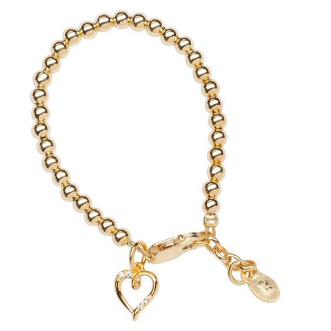 Aria Gold Plated Beaded Bracelet with Dangling Heart
