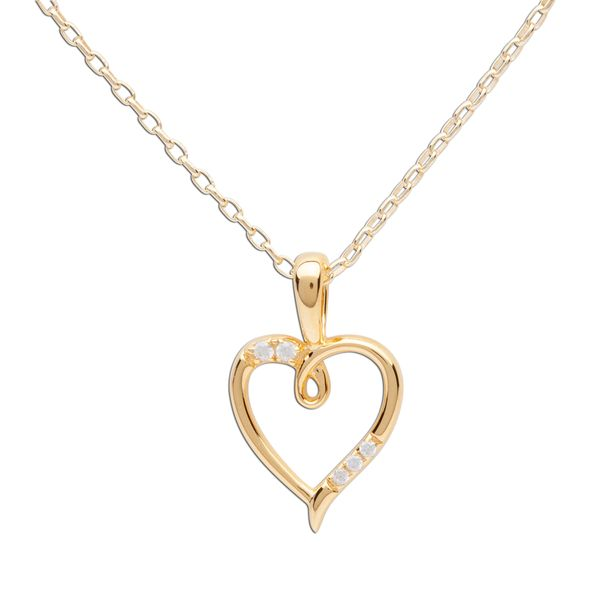 Gold Plated Open Heart Necklace with CZ's