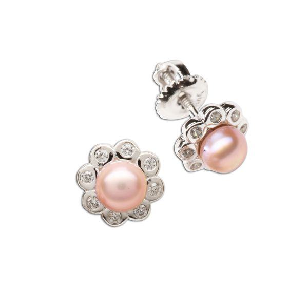 Sterling Silver Pink Pearl & CZ Button Earrings