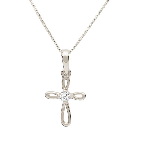 Sterling Silver Open Cross Necklace with CZ