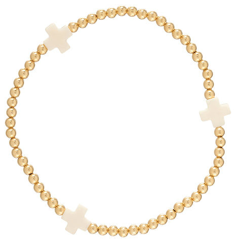 Signature Cross Bracelet with Off-White Crosses |14kt Gold Filled